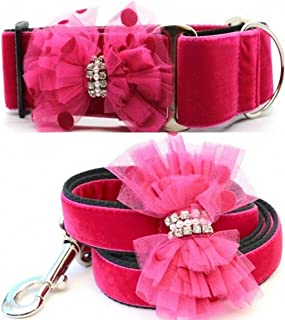 "product image for Diva-Dog 'Bardot' 2"" Wide Chainless Martingale Dog Collar, Matching Leash Available"