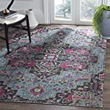 Safavieh Artisan Collection ATN511L Vintage Bohemian Light Blue and Black Medallion Area Rug (5'1 x 7'6)