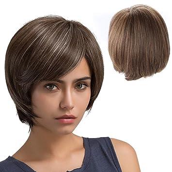 Skew Divide color mezclado peluca corta, peinado mullido sintético resistente al calor para el peinado diario de las mujeres blancas o negras: Amazon.es: ...