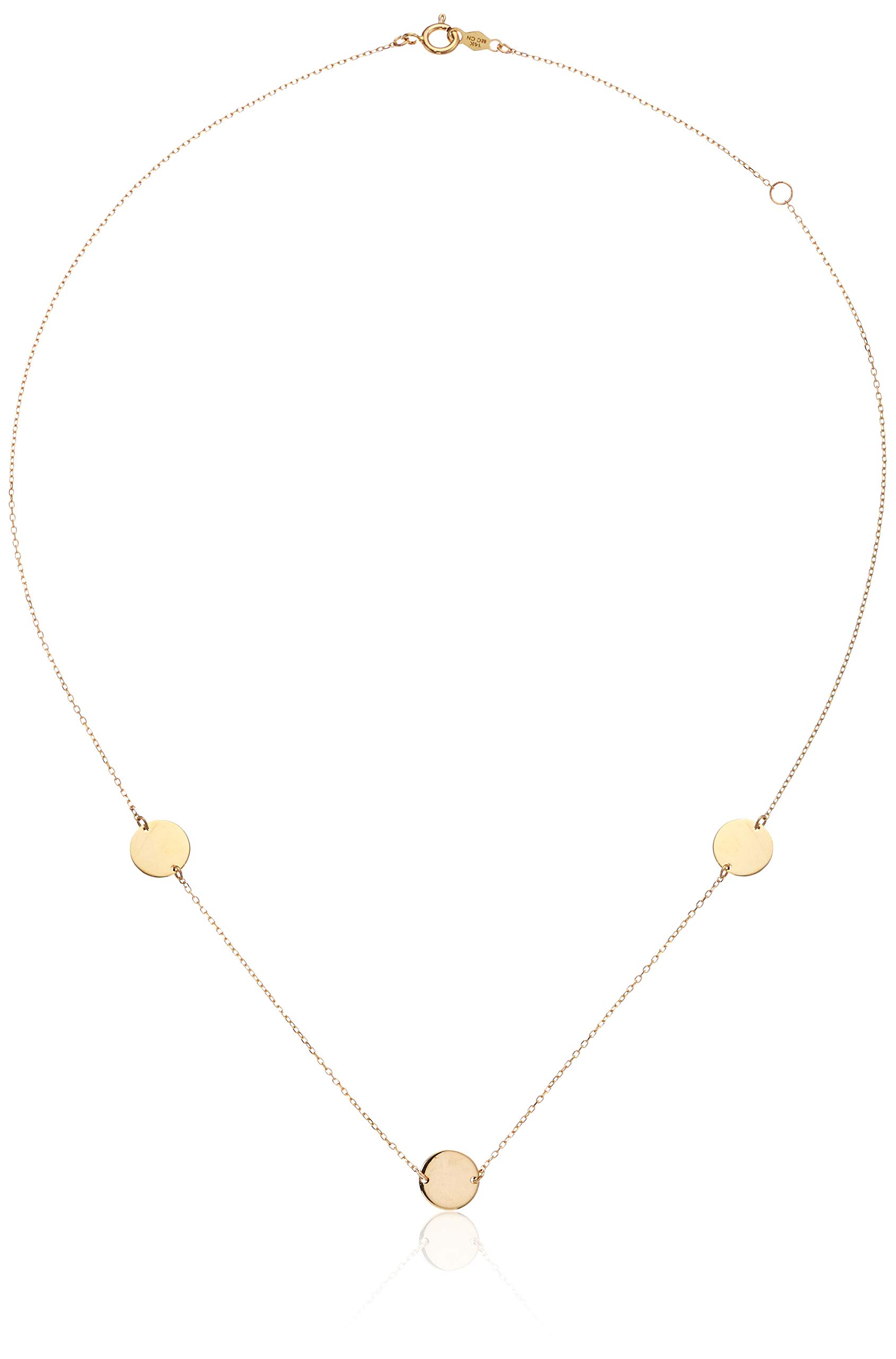 Women's Disc Station Necklace In 14K Yellow Gold, One Size by Parade of Jewels (Image #1)