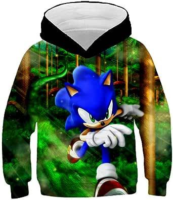 hhalibaba Sonic The Hedgehog 3D Sudaderas con Capucha para niños para niñas Sonic Sudadera para niños para niños Niñas Sudadera Niño Niño Sudaderas con Capucha Ropa 14