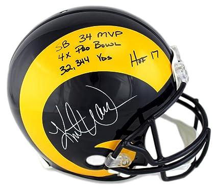 d8dec5e9b4e Kurt Warner Autographed Helmet - Throwback Full Size Authentic Career Stats  - Autographed NFL Helmets