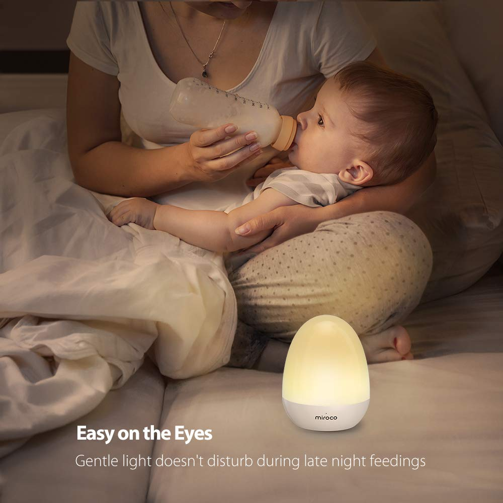 Miroco Night Lights for Kids, LED Baby Nightlight Breastfeeding Light 100% Toddler Safe, Touch Lamp USB Bedside Lamp Dim Nursery Lamp Diaper Changing Night Light, Soft Eye Caring, Timer Setting by Miroco (Image #3)