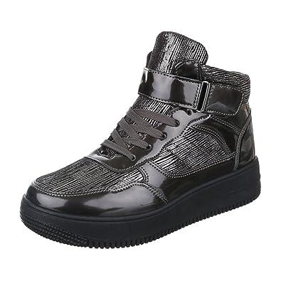 Ital-Design High-Top Sneaker Damen-Schuhe High-Top Sneakers Freizeitschuhe Grau Schwarz, Gr 40, X-36-