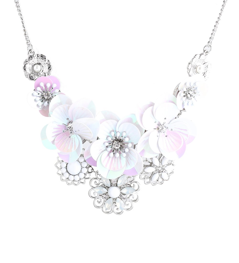 Isaloe Women Flower Choker Bib Necklace Colorful Graduating Flower Clustered Chunky Statement Necklace (Silver)