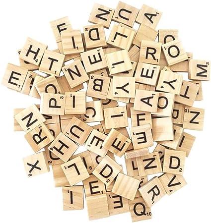 Scrabble Tiles Wood Letters 200PCS Wood Letter Tiles// Wooden Scrabble Tiles A-Z Capital Letters for Crafts