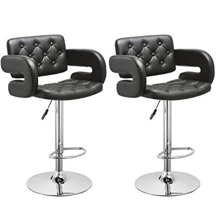 Bar Stool, GentleShower Set Of 2 PU Leather Swivel Pub Chair Adjustable  Height Barstools With
