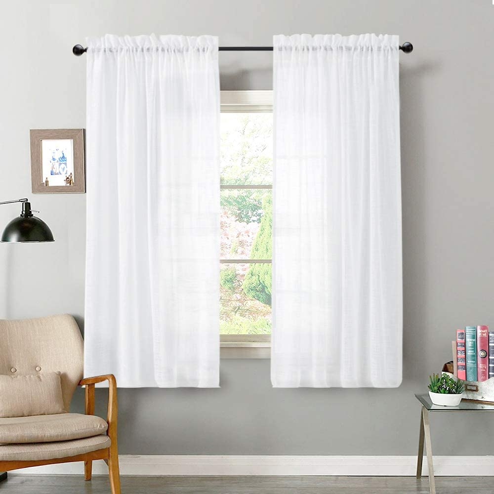 Amazon Com Vangao Linen Textrued Sheer Curtains For Living Room 63 Inches Length Semi Sheer For Bedroom Light Filtering Voile Rod Pocket Drapes 1 Pair White Home Kitchen