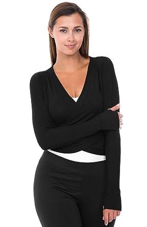 Kismet Couture Womens Long Sleeve Loose Shirt Deep V Neck Wrap Top