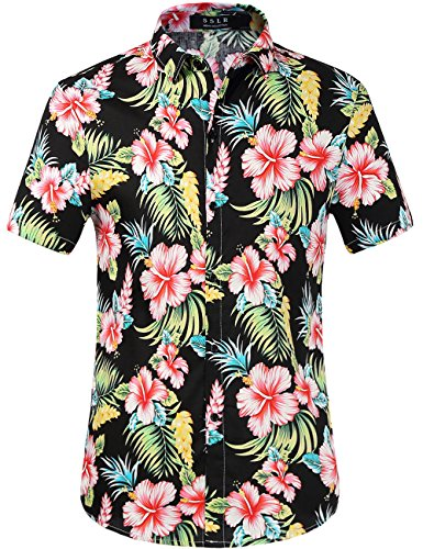 SSLR Men's Cotton Button Down Short Sleeve Hawaiian Shirt (Large, Red Hibiscus) -