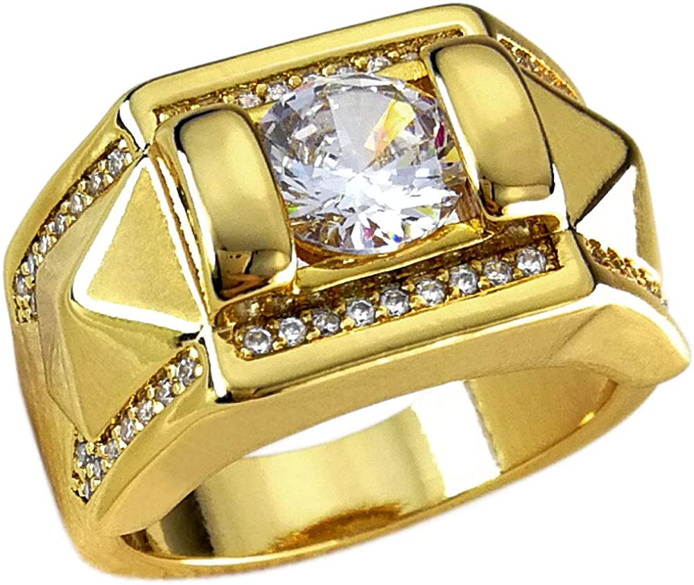 CARTER PAUL Couples Stainless Steel Classical Gold Diamond Ring Engagement Band,Men,Size 8