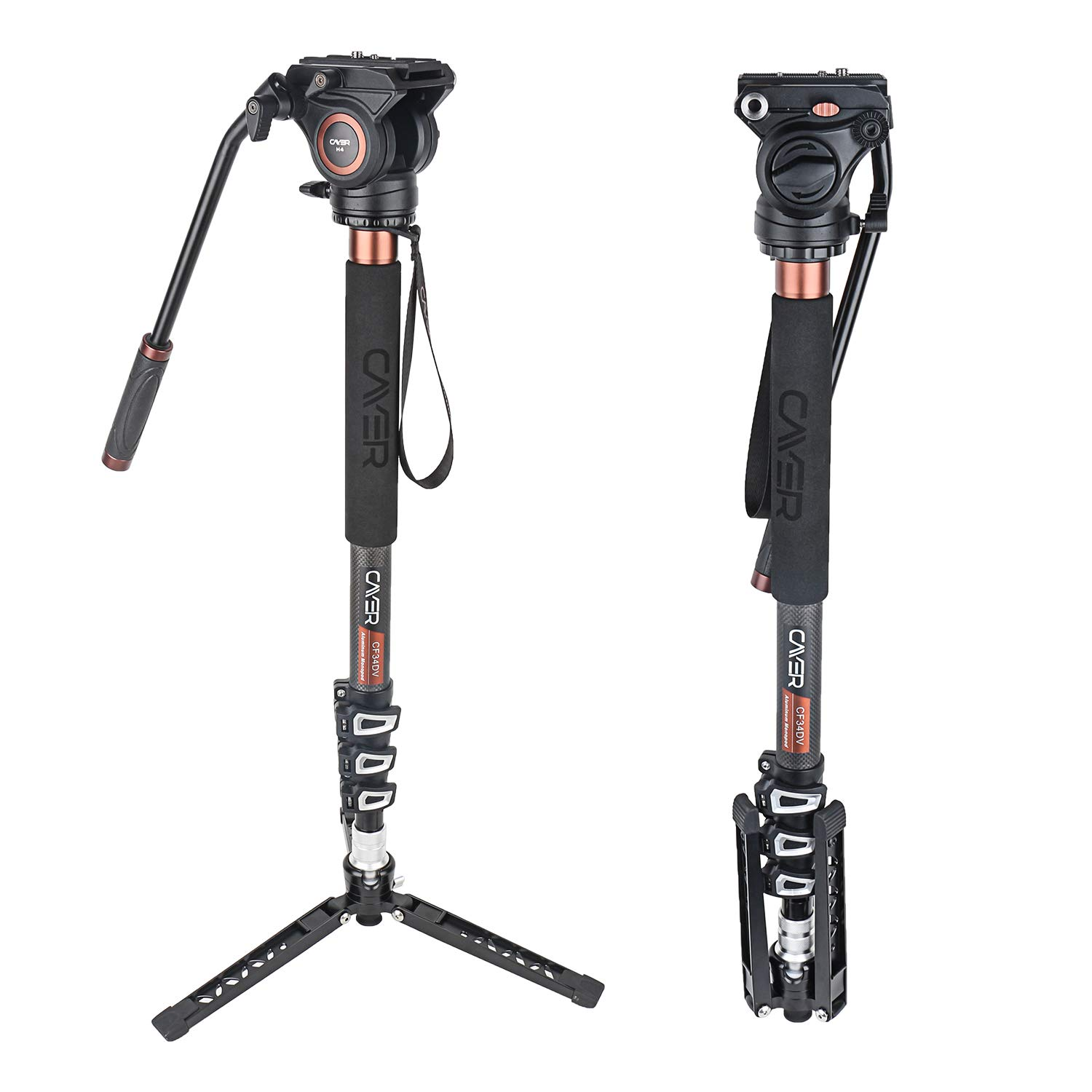 Cayer CF34 Video Monopod Kit, 71 inch Carbon Fiber Camera Monopod with Pan Tilt Fluid Head and Tripod Feet for DSLR Video Cameras Camcorders, Plus 1 Extra Sliding Plate by Cayer