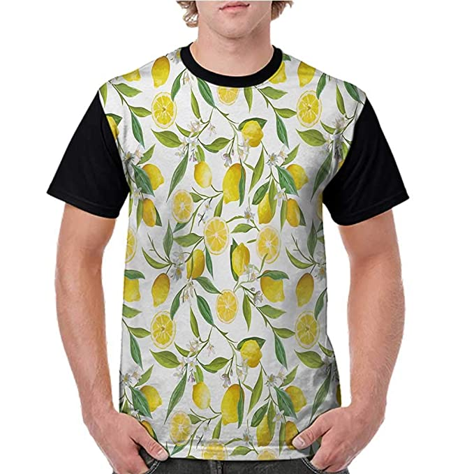 4797f2de508 Amazon.com: Girls Short Sleeve T-Shirts,Nature,Exotic Lemon Tree ...