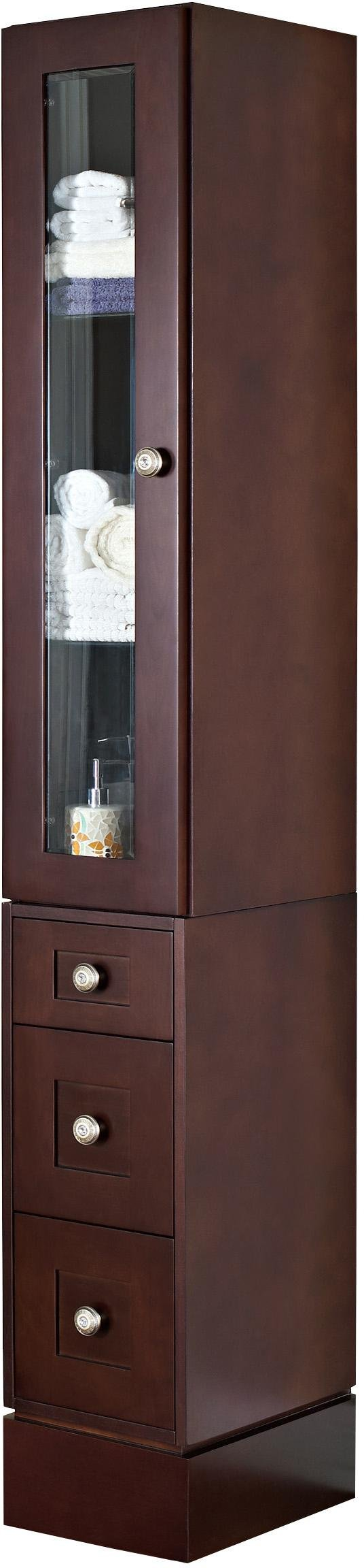 American Imaginations AI-1147 12-in. W Solid Cherry Wood Linen Tower With Soft-close Door And Drawers In Coffee Finish