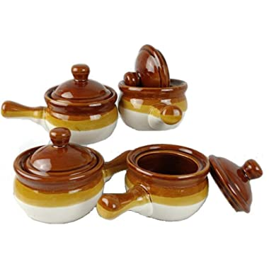 Individual French Onion Soup Crock Chili Bowls with Handles and Lids, Ceramic 17 Ounces 4 Pack