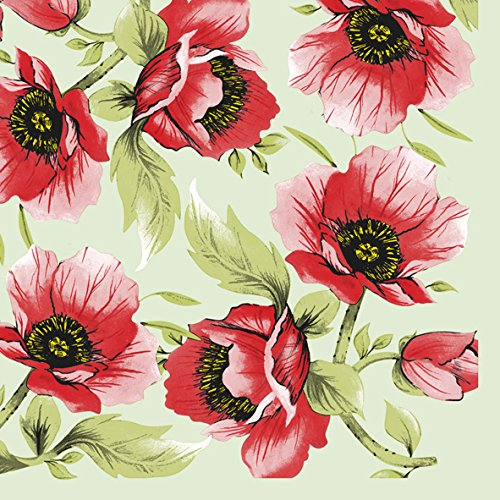 Dining Collection Decorative Floral Paper Lunch Napkins - Merry in Red, 20 Count, 6.5 inch