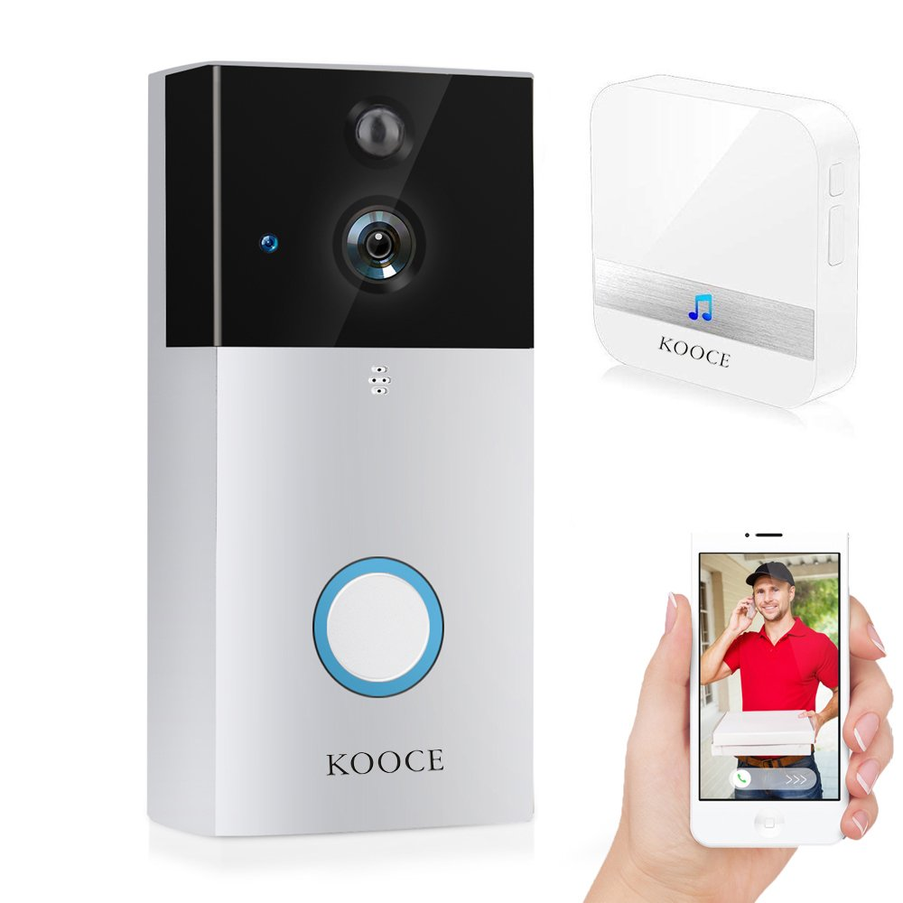 Doorbell Camera, KOOCE Video doorbell 720P HD Cameras WiFi Smart Home Security System with PIR Motion Detection, Night Vision, Real-Time Two-Way Talk, Free App Control for iOS and Android