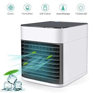 Vantakool Air Cooler, Personal Air Conditioner Fan With Led Lights,Mini Air Purifier Humidifier For Home Room Office,Mini Desk Fan by Vantakool