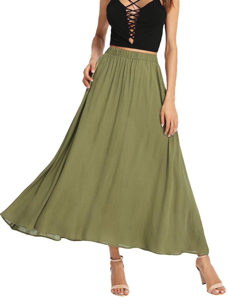 Romwe Women's Casual Summer Elastic Waist Loose Swing Maxi Long Skirt Green S