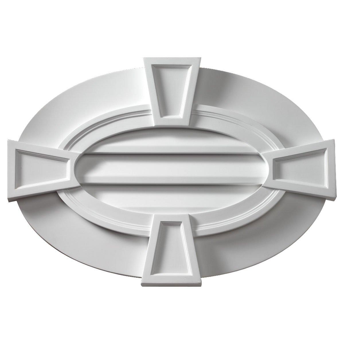 Fypon OVLV29X20TK 29''W x 20''H Oval Louver, Horizontal with Flat trim & Keystones, Decorative