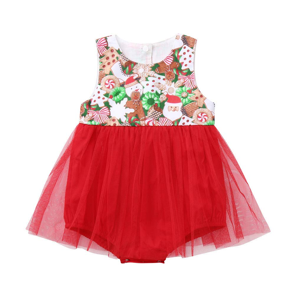Cinnamou Toddler Infant Baby Girls Christmas Sleeveless Snowman Print Romper Dress Xmas Outfits Clothes