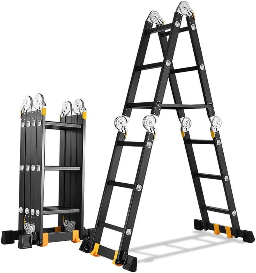 Qi Tai Escalera Plegable multifunción Escalera telescópica de Engrosamiento de aleación de Aluminio Rodamiento de Escalera Recta de ingeniería 330lb Edificio ático Inicio Escalera telescópica: Amazon.es: Hogar