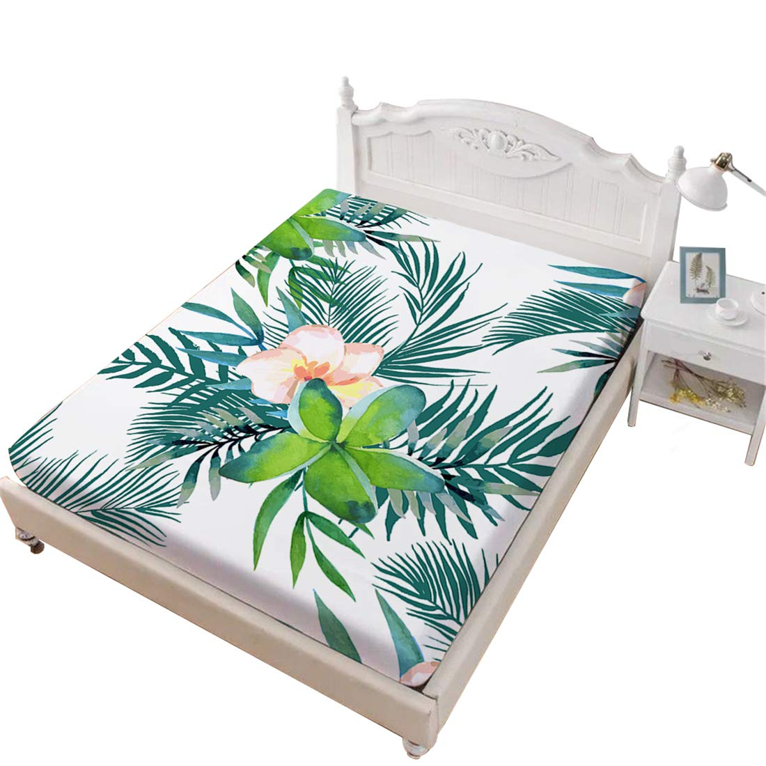 Oliven Fitted Sheet Twin Size 1 Piece Hawaiian Floral Printed Bed Sheet Twin Girls Gift Home Decor Dorm Decor