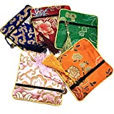 5 Pcs Chinese Silk Brocade Embroidered Jewelry Pouch Bag Coin Purses Gift Bag Zipper Pocket (Color 3)