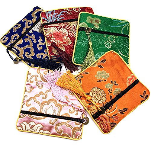 5 Pcs Chinese Silk Brocade Embroidered Jewelry Pouch Bag Coin Purses Gift Bag Zipper Pocket (Color 3) (Zip Pouch Embroidered)