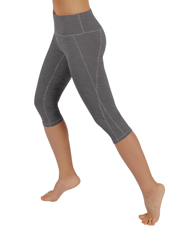 ODODOS パワー フレックス ヨガ カプリ パンツ 腹部コントロール トレーニング ランニング  4 方向ストレッチ レギンス B01N40K0DQ L Yogacapris712-grey Yogacapris712-grey L