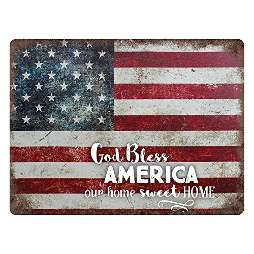 God Bless America Our Home Sweet Home American Flag 16 x 12 Metal Tin Wall Sign Plaque