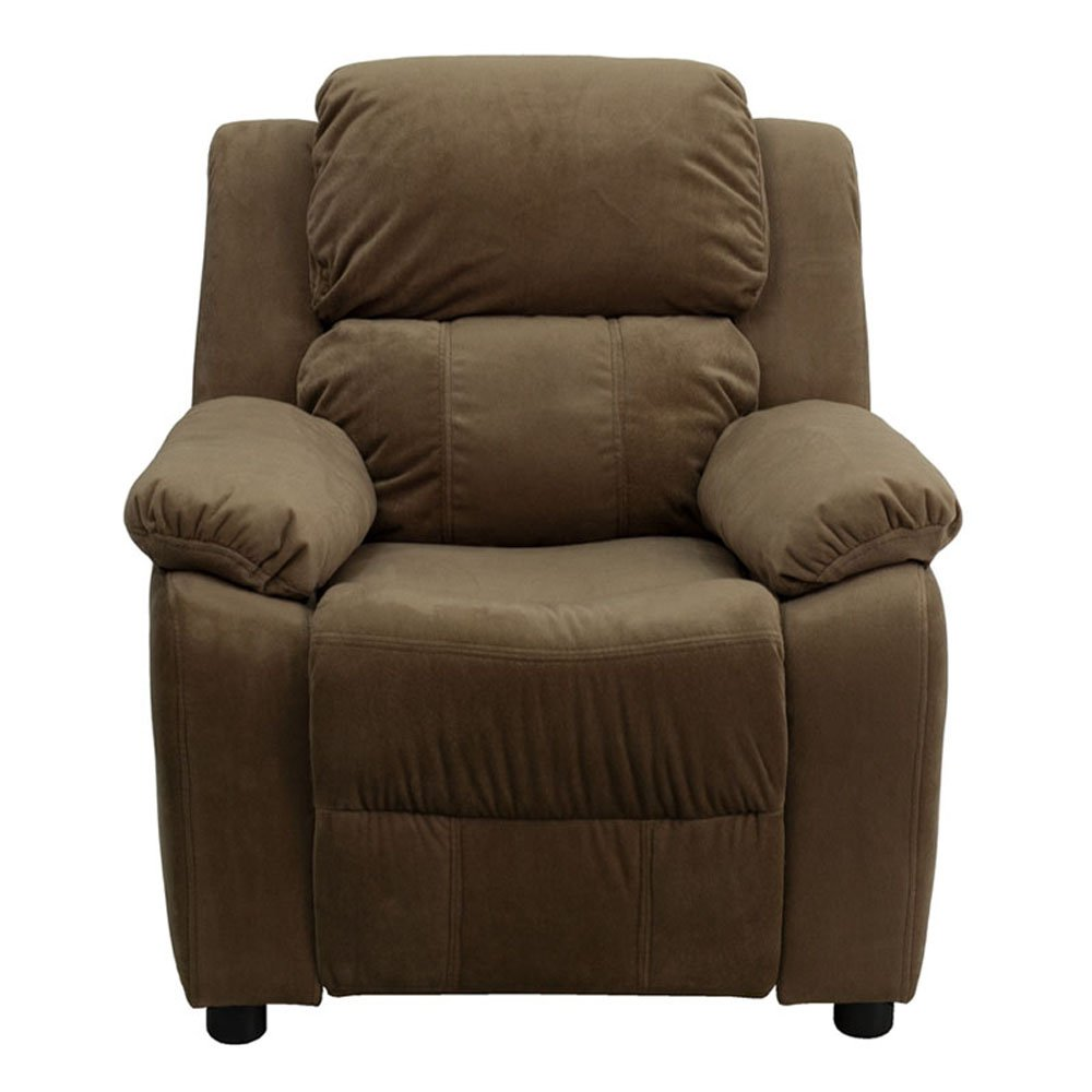Flash Furniture Deluxe Heavily Padded Contemporary Brown Microfiber Kids Recliner