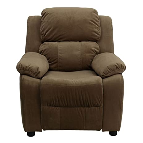 Deluxe Heavily Padded Contemporary Brown Microfiber Kids Recliner with Storage Arms  sc 1 st  Amazon.com & Amazon.com: Deluxe Heavily Padded Contemporary Brown Microfiber ... islam-shia.org
