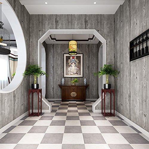 MOMO Estilo Chino Moderno Gris Claro Retro Restaurante y Bar Restaurante Papel Pintado de Grano de Madera imitación PVC Papel Pintado de Grano de Madera,A11