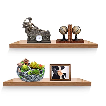 XiaZ Floating Wall Mounting Shelves, Bamboo Shelf Wall Mount For Living Room,  Kitchen,