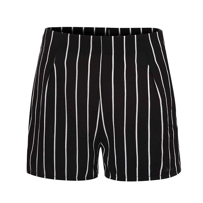 84834367da3cd6 ZARU Damen Elegante Shorts, Casual Hot Pants Sommer Strand Shorts Slim Fit  Kurze Hosen mit Streifen Druck und Reißverschluss: Amazon.de: Bekleidung
