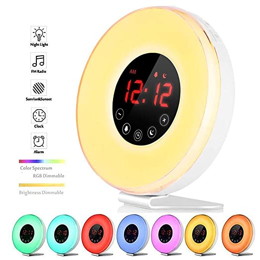 Wake Up Light, Luces Despertador, Simulación Crepúsculo (10 intensidades), 6 Alarmas y Función de Radio FM 7 Cambio de Color LED Luz de Noche con USB ...