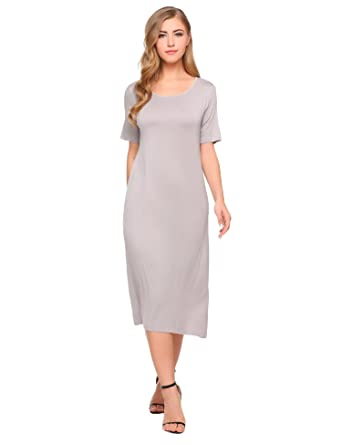 5d6b1251c0c5 Zeagoo Women s Casual Short Sleeve Shift Straight Dress Below Knee Loose  Crewneck Maxi Dresses