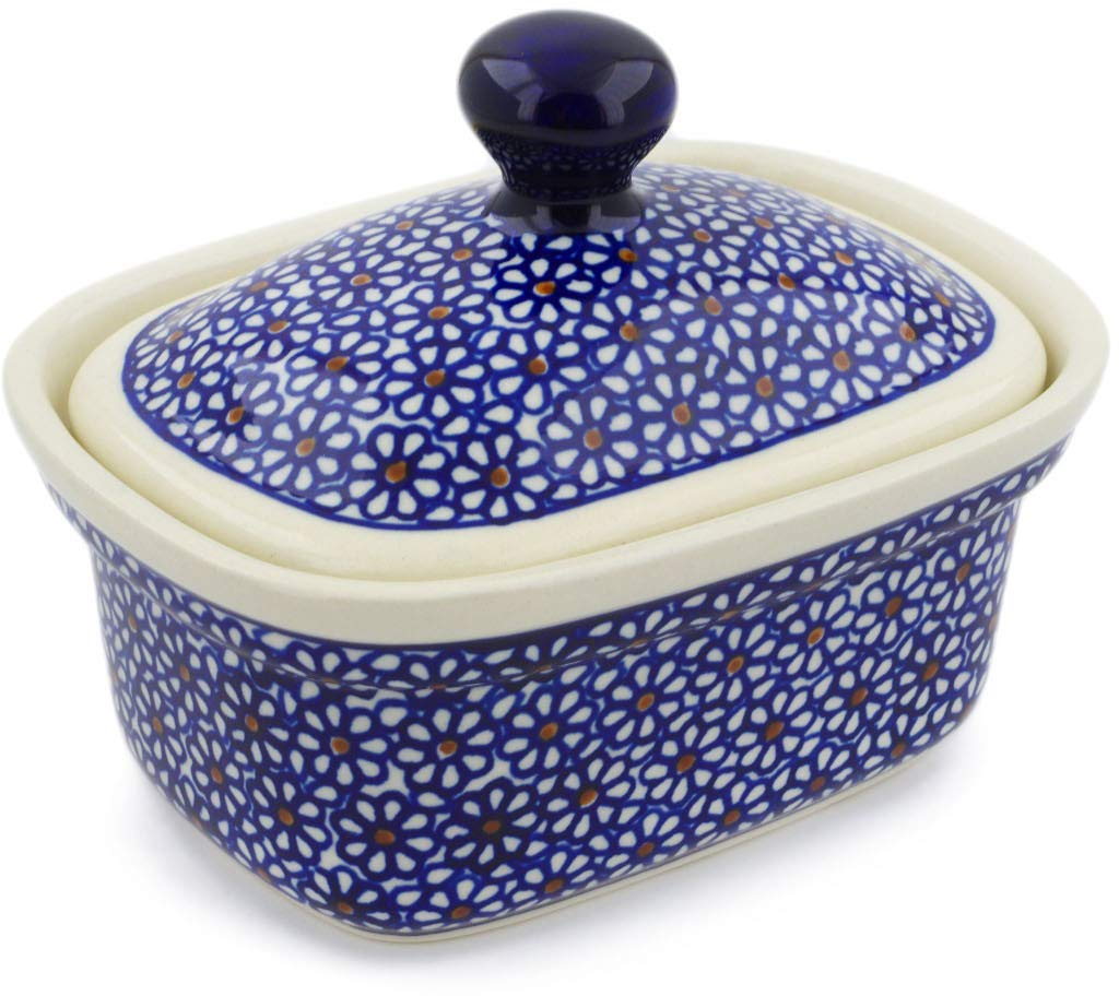 Polish Pottery 6¼-inch Butter Dish (Daisy Dreams Theme) + Certificate of Authenticity