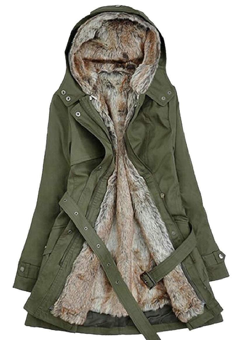 1 pujinggeCA Women's Warm Thicken Jacket Winter Fleece Lined Parka Coat with Hooded