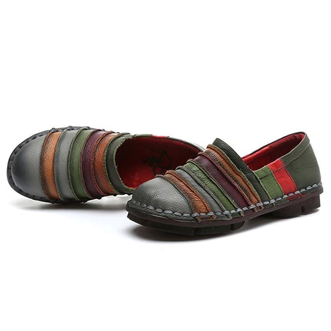 Socofy Mocasín de Mujer, Mocasín Slip-on Casual de Cuero de Mujer Zapatos Planos de Deslizamiento Mocasines de Conducción Mocasín Zapatillas: Amazon.es: ...