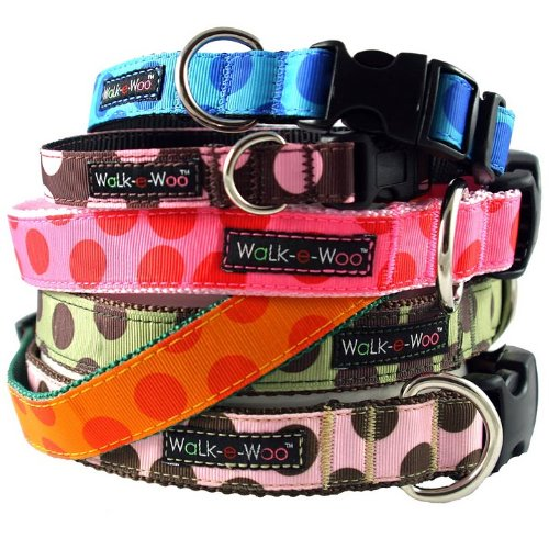 Brown and Blue Dot Dog Collar by WaLk-e-Woo XS