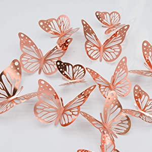 paperbgspen 3D Butterfly Wall Stickers, 48PCS Rose Gold Butterfly Wall Decals Decorations Stickers with 4 Patterns Butterflies Rose Gold Party Decoration for Home Nursery Classroom Kids Bedroom Decor