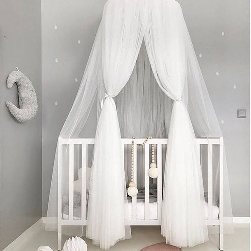 LOVIVER Gauze Round Dome Princess Bedding Hanging Canopy Mosquito Net Baby Kids Bedroom White as described