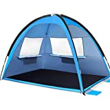 MOVTOTP Beach Tent Sun Shade Shelter, 3-4 Person Large Sunshade Canopy UPF 50+ Sport Umbrella Instant Tent for Camping…