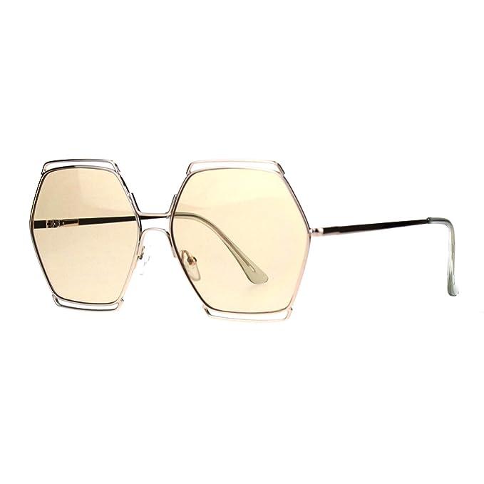 Amazon.com: Gafas de sol con forma hexagonal para mujer con ...