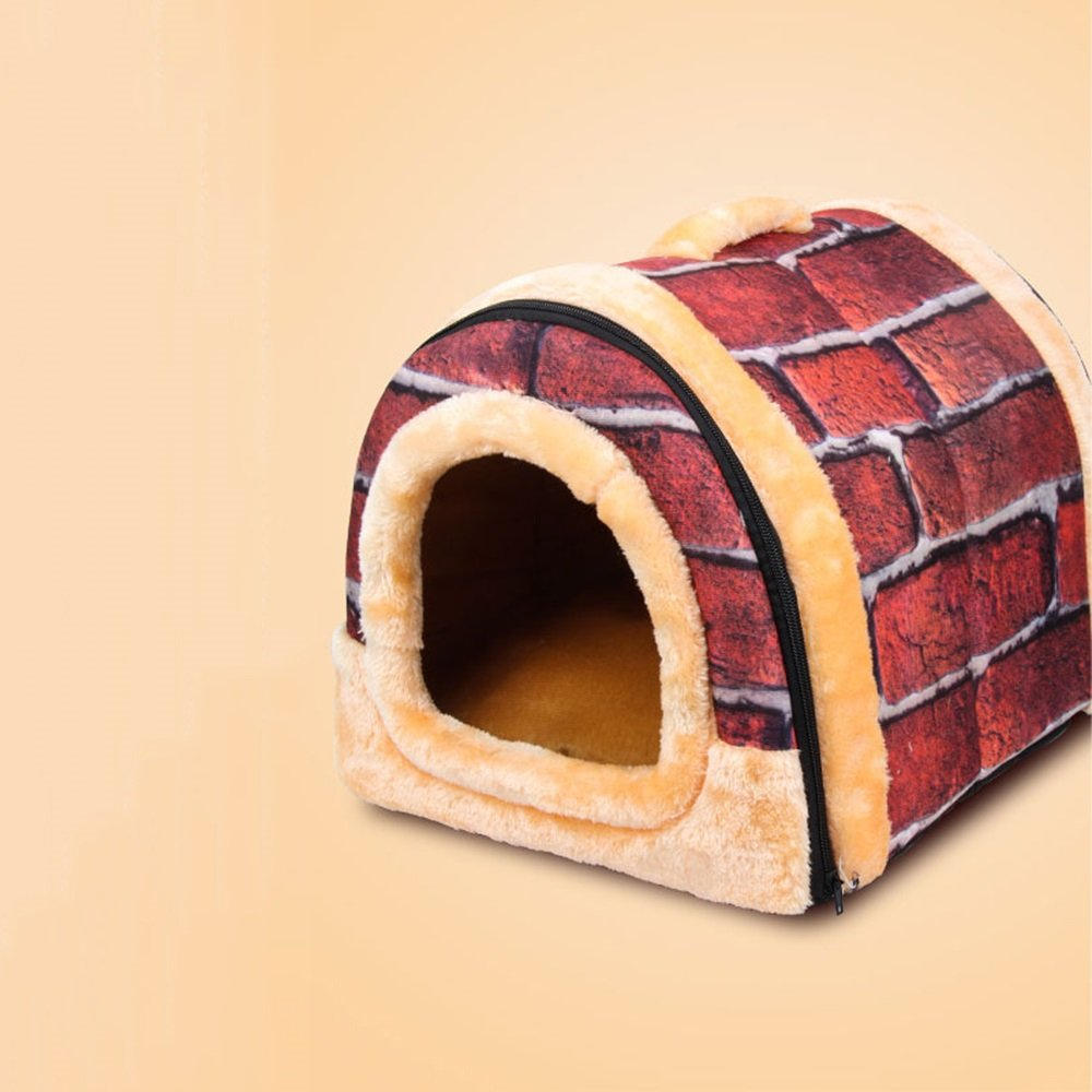 S YXINY Pet Supplies Double Use Cat Nest Warm Kennel Doghouse Cotton Nest Waterproof Removable And Washable Red Fire Brick (Size   S)