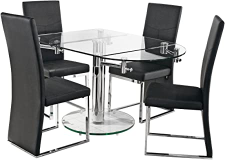Oval Glass Extending Dining Table With Easy Extending Mechanism Tempered Glass Top Base With Chrome Stem Amazon Co Uk Kitchen Home