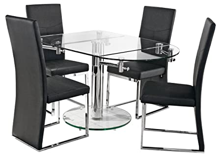 Oval Glass Extending Dining Table   With Easy Extending Mechanism    Tempered Glass Top U0026 Base