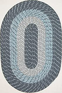 """product image for Plymouth 5' 6"""" x 8' 6"""" (66"""" x 102"""") Oval Braided Rug in Blue Mist Made in New England"""